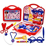 Doctor Set Toy Kit The children's toy backpack has three modes handbag, backpack or medical tool table 2-in-1 backpack can be turned into a toy table in a few seconds. Toy set includes stethoscopes, thermometers, medicine bottles, scissors, ,shelves....