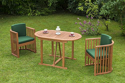 gartenmoebel-einkauf Balkongarnitur Brasilia 7-teilig (2X Sessel, 1x Tisch 70x120cm oval) mit Auflagen grün, FSC®-Zertifiziert