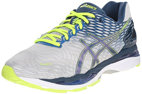 ASICS Men's Gel Nimbus 18 Running Shoe, Silver/Ink/Flash Yellow, 7.5 M US