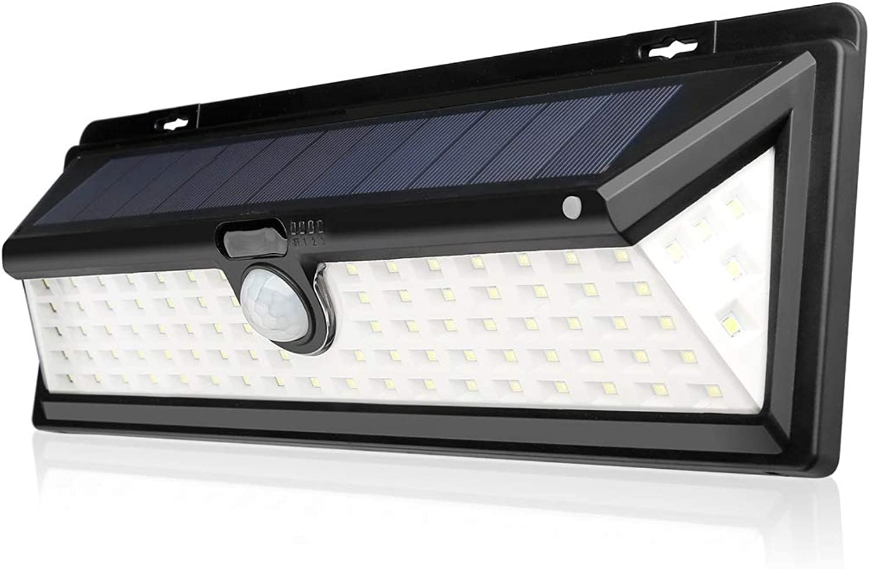 Wasserdichte Wandlampe für den Auenbereich ZS, Solar Zaunlichter, Outdoor Solar Gartenlichter mit Bewegungssensor 90 LED Wei Superhelles Flutlicht, Wasserdicht Drahtlose Auenwand Sicherheitsleuchte