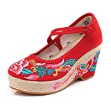 N&W Embroidered Shoes Phoenix Embroidered Women Canvas Chunky Heel Platform Shoes Slash Buckle Ladies Thick Bottom Espadrilles Pumps Old Beijing Embroidered Shoes (Color : Red Size : 6 UK)