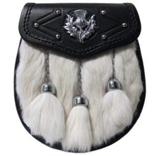 Tartanista - Sporran chic décontracté pour homme - lapin blanc/chardon/glands - 20 cm x 20 cm