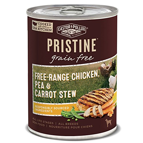 Castor & Pollux Pristine Grain Free Free-Range Chicken, Pea & Carrot Stew Canned Dog Food, (12) 12..7oz cans