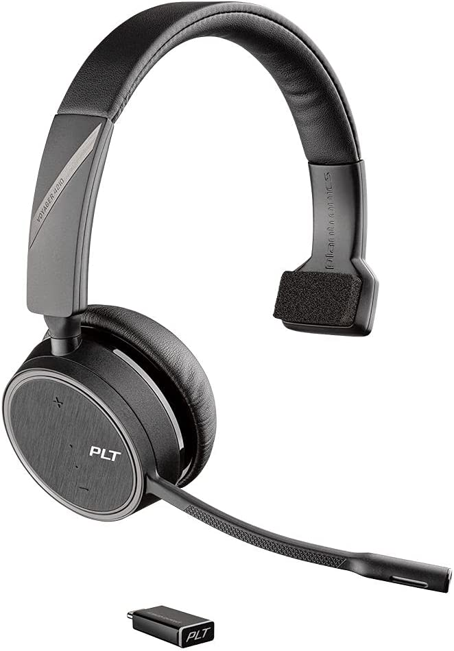 Plantronics - Voyager 4210 UC USB-C (Poly) - Bluetooth Single-Ear (Monaural) Headset - Connect to PC, Mac, & Desk Phone - Noise Canceling - Works with Teams, Zoom & More