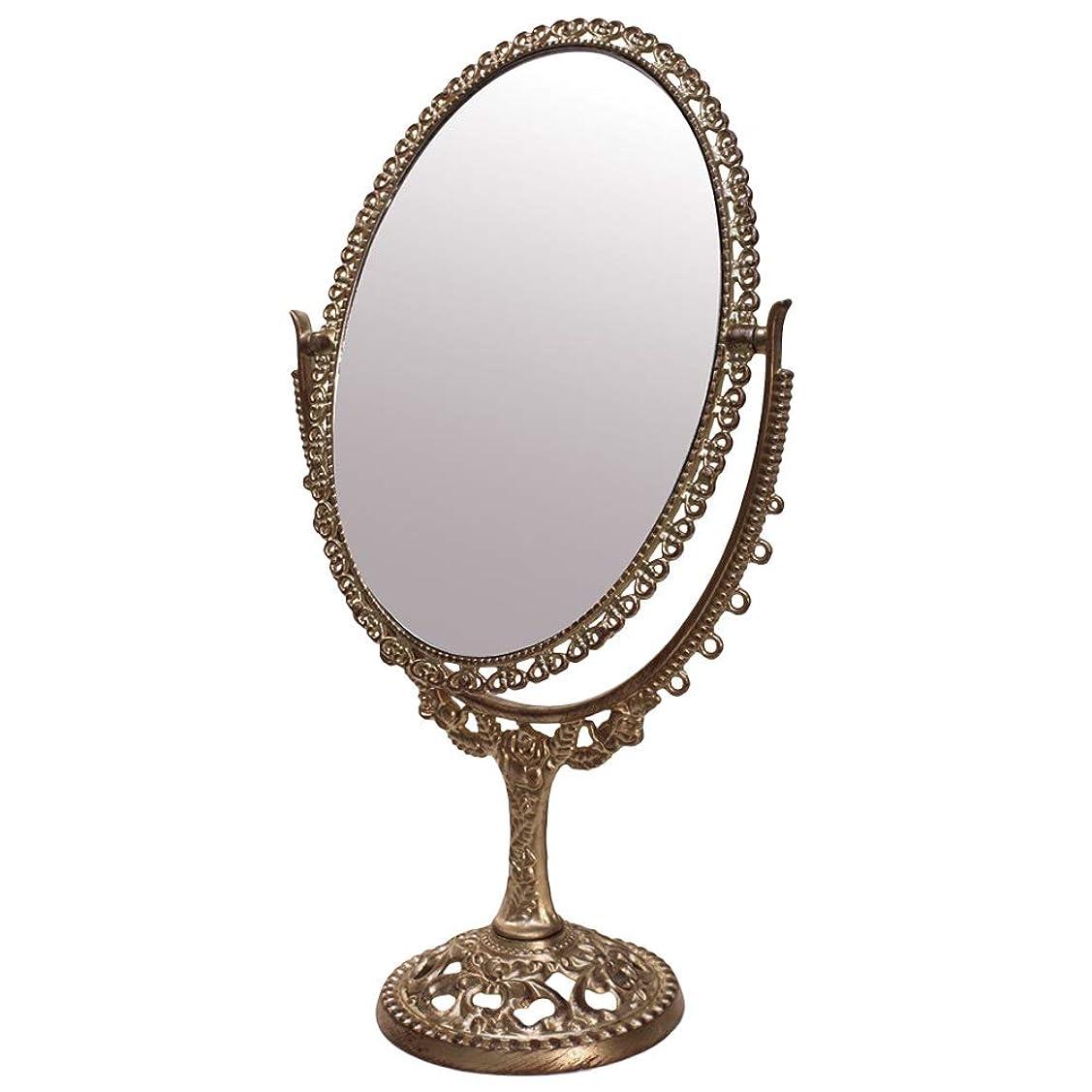 食欲囲まれた防腐剤卓上ミラー 鏡 化粧鏡 シャビーシック デコレーションミラー (卓上ミラー M-ブロンズ)