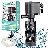 BPS Bomba Sumergible para Acuario con Filtro 4W 400L/H Bomba de Agua Filtrador Tanque para Pecera Estanque Hidropónico 15x7.5 cm BPS-6078