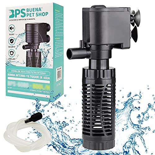 BPS BPS-6079 Pompe submersible pour aquarium avec filtre 6 W 600 L/h Pompe à eau filtre réservoir pour aquarium étanche 16 x 8 cm