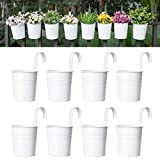 Dahey 8 Pcs Hanging Flower Pots Metal Iron Bucket Planter for Railing Fence Balcony Garden Home Decoration Flower Holders with Detachable Hooks, White, 5 inches