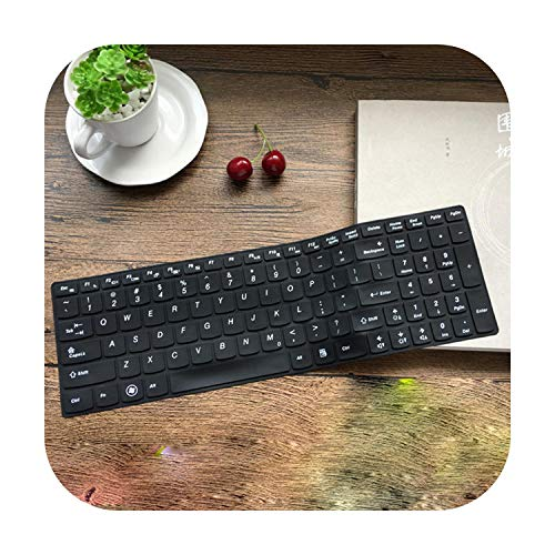 Silicone Keyboard Protector Cover Skin for Lenovo G580 G570 G575 G585 G510 G505 G500 G501 G700 B580 B570 B575 B575E B590 M5400-All Black-