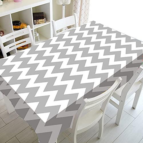 XXDD Mantel de patrón geométrico Zigzag Mantel Rectangular Impermeable, a Prueba de Polvo y Lavable A8 140x160cm