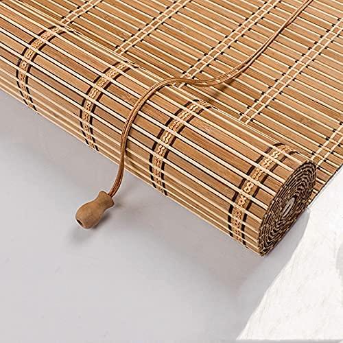 Stores à Enroulement en Bambou Rétro,Naturel Respirant Rideau en Bambou,Store Exterieur Enrouleur,pour Décoration Maison Intérieure,Bureau,Cuisine Rétro Store Fenetre Occultant (60 x 120cm/24x47in)
