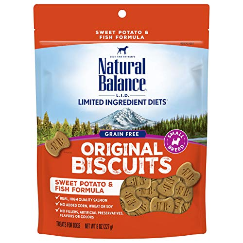 Natural Balance L.I.D. Limited Ingredient Diets Small Breed Dog Treats, Sweet Potato & Fish Formula, 8 Ounce Pouch, Grain Free