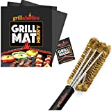 Grillaholics Essentials Brass Grill Brush + Nonstick Grill Mat Heavy Bundle