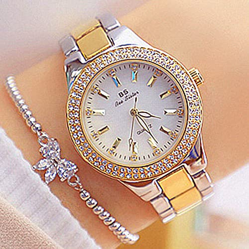 Msltely BS Bee Hermana Nueva Mujer Reloj Moda Casual Impermeable Acero Inoxidable Reloj de Pulsera Lady Quartz Watch Regalo para Esposa (Color : Gold Silver)