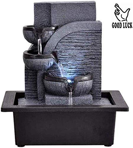 SCDXJ Zimmerbrunnen 3-Tier Tabletop Indoor Wasserfall Brunnen Mit LED-Leuchten Entspannung Zen Meditation Ambient Beruhigende Kaskade Für Office Living Room23 * 17.5 * 25.5CM