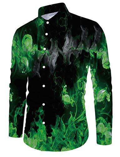 Fanient Beiläufige Flamme gedruckte Hemden Lange Hülsen flippige gedruckte Polyester Hemd Knopf-unten Smokinghemd-Oberseiten der Männer XXL