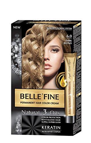 BELLE'FINE® - Coloration crème pour cheveux Black Series - luxueux - coloration naturelle/permanente - 3 huiles/kératine - BLOND FONCÉ