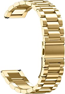 XBKPLO Gold Quick Release Watch Strap Foldover Clasp Closure Stainless Steel Watch Band Replacement Strap Double Button 18MM/20MM/22MM