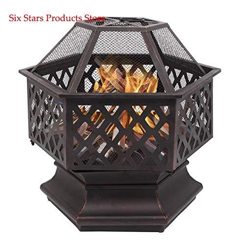 Buy KJGHJ Courtyard Metal Fire Bowl 22 Hexagonal Shaped Iron Brazier Wood Burning Fire Pit Decorati...