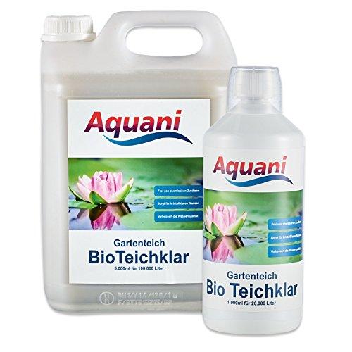 Aquani Bio Teichklar 1.000ml Gartenteich natürlicher Teichklärer für klares Wasser im Teich 100% natürliche Inhaltsstoffe effektive chemiefreie Teichpflege ideal für Koi und Schwimmteich