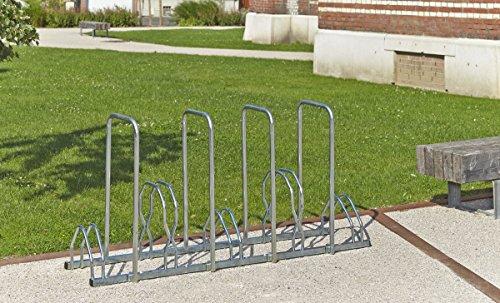Mottez B129AR Râtelier 5 vélos sur 2 niveaux avec arceaux pour antivol, Argent