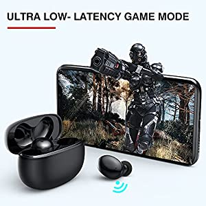 Tranya T20 Wireless Earbuds, Premium Sound with Deep Bass, 8H Playtime, 4-Microphones Design for Call, Bluetooth Earbuds with Low Latency Game Mode, IPX7 Waterproof Headphones for Sports, Black
