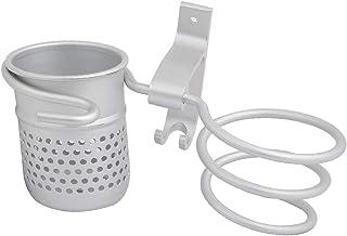 NEW LON0167 Aluminium Alloy Silver Tone Wall Mounted Hair Dryer Holder w Storage Shelf and Hook(Aluminiumlegierungs-Silbe...