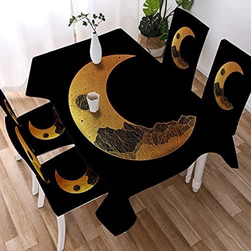 Mantel de luna y estrellas, diseño de mandala celestial, colorido, bohemio, lavable, rectangular, rectangular, rectangular, 150 x 200 cm