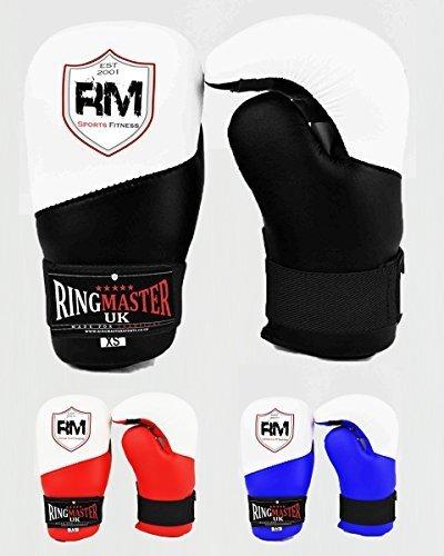 RingMasterUK Semi Contatto Punta Guanti Aperto Palma Taekwondo Kickboxing Allenamento - Nero, Small