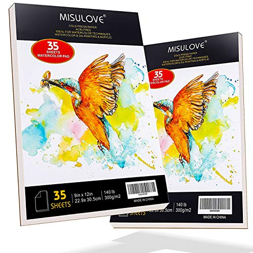 MISULOVE Watercolor Pad, 9' x 12', 2 Pack(70 Sheets, 140lb/300gsm), Glue Bound, Cold Pressed, Acid Free, Art Sketchbook Great for Watercolors, Oil, Acrylic Painting, Wet & Dry Mixed Media