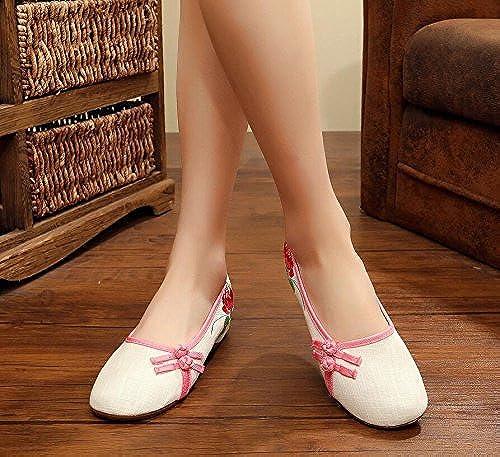 KHSKX-Old Beijing zapatos zapatos De mujer Ropa Transpirable Suave Fondo Llano Elegante Estilo De Bordado Popular Literaria Femenina De zapatos zapatos De Trabajo
