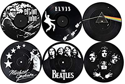Our Casa Vinyl Record Coasters for Drinks | Home Decor Music Record Drink Coasters Set. Housewarming, Living Room Decoration Gift 6 Piece Set of 4 Inch Retro Record Disk Coasters Rock and Roll Design by Our Casa