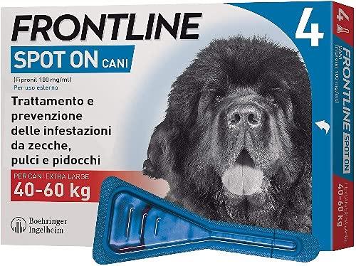 Frontline Spot On, 4 Pipette, Cane Taglia XL (40 - 60 Kg), Antiparassitario per Cani e Cuccioli di Lunga Durata, Protegge da Zecche, Pulci e Pidocchi, Antipulci In Confezione da 4 Pipette