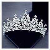 tggh Brautkrone Hochzeit Haar Tiara Kristall Braut Tiara Krone Silber Farbe Diadem Schleier Tiaras Hochzeit Haarschmuck