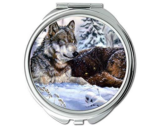 Yanteng Spiegel, Schminkspiegel, Tierspiegel mit Tier-Wolf-Statue, 1 X 2-Fach Vergrößerung