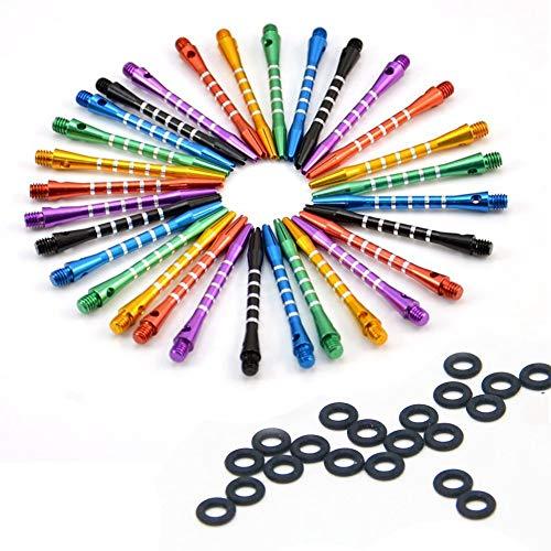 ToBeIT 18 Stücke Alumium Dart Shaft - Metall Darts Shafts Dartschäfte mit 20 Stücke Dart Gummiringe