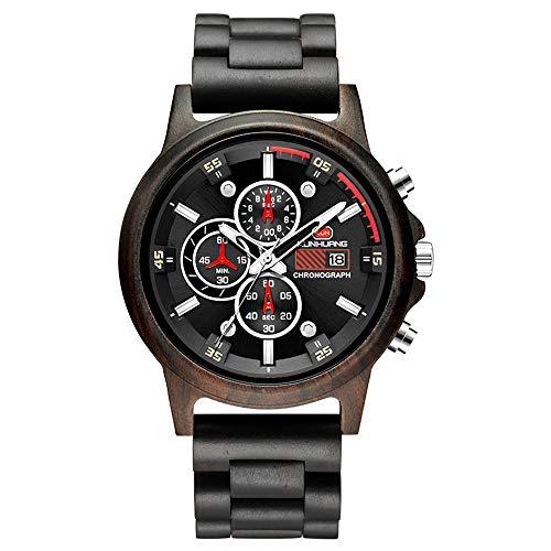 RB Heren Houten Horloges Lichtgewicht Handgemaakte Houten Polshorloge Beweging Analoog Quartz Horloges