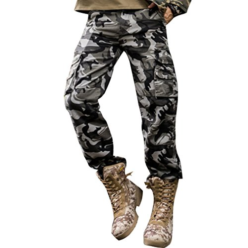 Baymate Homme Casual Cargo Pantalon Militaire Style Loose Fit PantalonsMer Camouflage 34