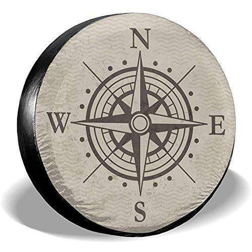 Y.Z.L. Reserveradabdeckung Kompass Windrose Artwork Universal Reserverad Ersatzradabdeckung Für Trailer Rv SUV 14-17IN