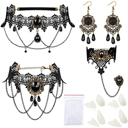 8 Pièces Tour de Cou Noir Bracelet Boucles d'Oreilles Collier en Dentelle Crocs Dents de Vampire d'Halloween Costume de Sorcière Vintage Gothique Accessoires Gothiques Bijoux Victoriens