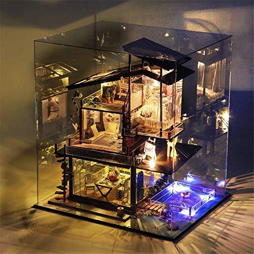 Casas de muñecas, Diy House Costa de Valencia tiene una capilla Villa Manual creativo Ensamblaje Modelo Modelo Romántico San Valentín Casa de muñecas de madera con muebles y accesorios, juguetes educa