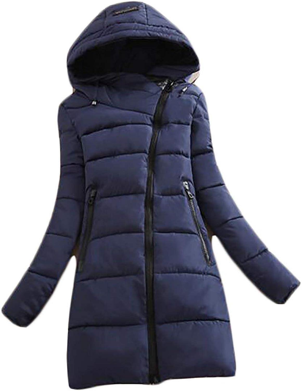 JWK Womens Winter Thicken Zip Up Padded Warm Hooded Slim Parka