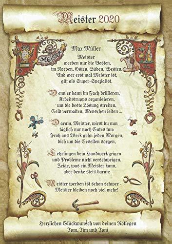Die Staffelei Geschenk-Urkunde zur Meister-Prüfung, Zeichnung mit lustigem Gedicht Meister-Abschluss A4 Bild-Präsent zum Jubiläum, persönlich durch Wunschtext