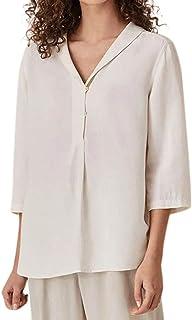 White Modaworld Top Eleganti Plain Camicia Donna 34 Maniche