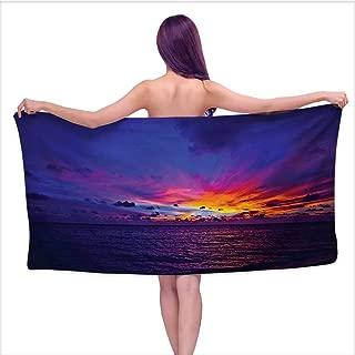 Bensonsve Bath Towels Ocean,Dreamlike Sunset in The Ocean Aurora Borealis Beyond Pacific Sea Atmosphere Photo,Purple Blue,W10 xL39 for Kids Mickey Mouse