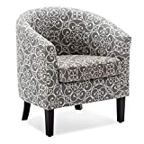 BELLEZE Modern Club Chair Tub Barrel Fabric Seat Armchair Accent Living Room, Grey