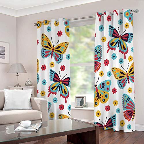 Mariposa De Color Cortina Opaca con Ojales 2 Piezas Cortinas Térmicas Aislantes Moderna Decoración Ventanas para Dormotorio Sala Salon 140 × 240 CM