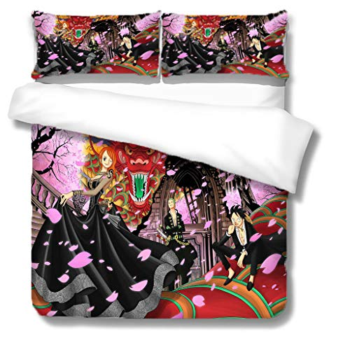 HHANN Duvet Cover Sets Double Size 200X200cm Pretty Anime Girl Pattern 3 Pcs Bedding Set With Zipper Closure & 2 Pillow Covers 50X75cm Ultra Soft Hypoallergenic Microfiber Quilt Cover Sets