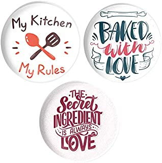 dhcrafts Fridge Magnet Multicolor My Kitchen My Rules , Baked with Love , The Secret Ingredient is Always Love D1 Glossy F...