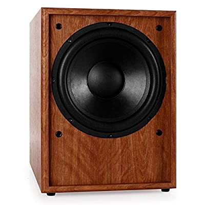 "AUNA Line 300-SW-WN Active Subwoofer Built-In Amplifier with Possibility for Frequency and Phase Matching Bass Reflex Powerful Bass Response (10"", 250W RMS, Automatic Switch-On) Walnut Wood by Auna"